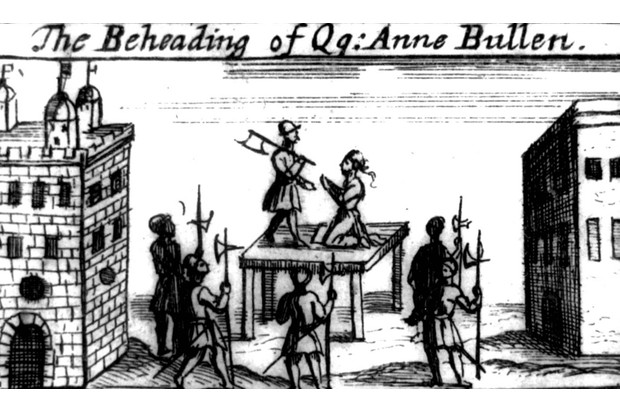 An illustration of Anne Boleyn kneeling on the scaffold before the executioner holding an axe. She was in fact executed with a sword. (Photo by Photo 12/UIG via Getty Images)