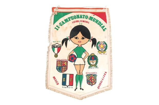 Face of Mexico: A pennant showing the tournament mascot, Xochitl, who appeared on dolls, t-shirts and badges. (Image by National Football Museum)