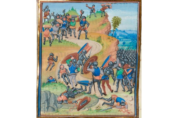 A medieval image showing a battle