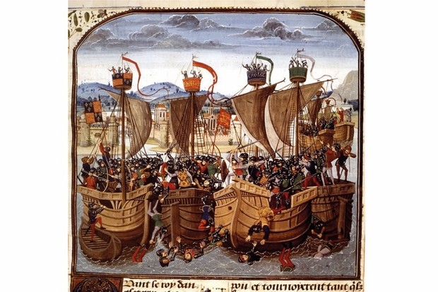 A painting depicts a 14th-century sea battle