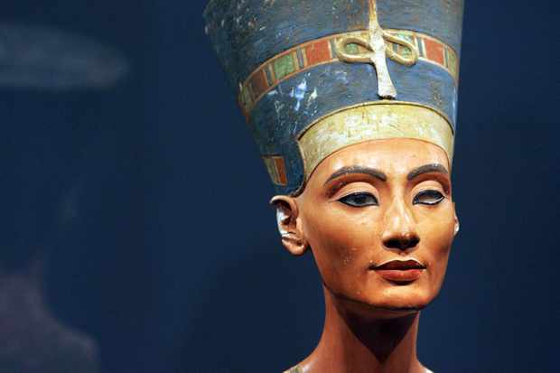 A bust of Queen Nefertiti of Ancient Egypt. (Photo by Oliver Lang/AFP/Getty Images)