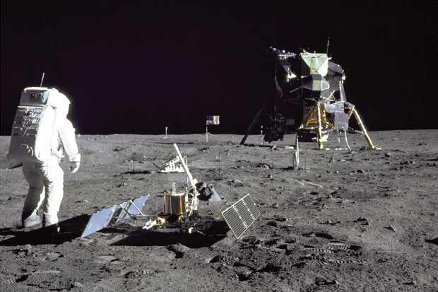 Astronaut Buzz Aldrin on the moon's surface