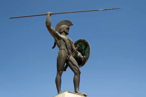 A sculpture dedicated to King Leonidas of the Spartans in Thermopylae, Greece. (Photo by iStock/Getty Images Plus)