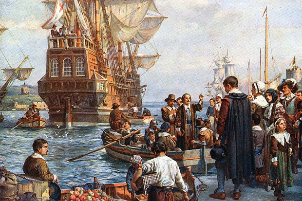Pilgrim Fathers boarding the Mayflower