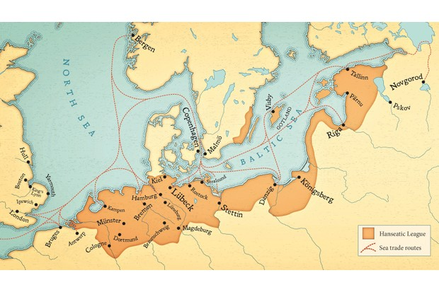 Hansa merchants dominated trade routes, from Russia to England, as our map shows. (Illustration by Paul Hewitt/Battlefield Design)
