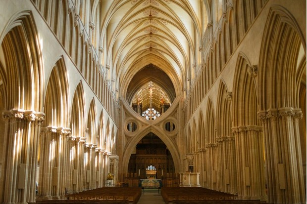 An interior view of Wells Cathedral