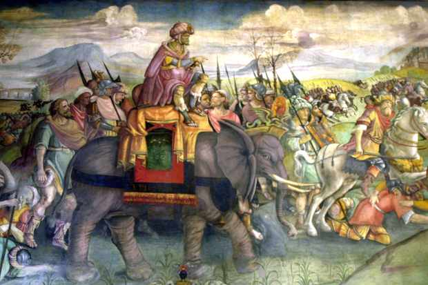 A detail of a fresco of Hannibal riding his elephant. It is estimated he took as many as 40 elephants when he marched an army across the Alps and into northern Italy. (Photo by Photo12/UIG/Getty Images)