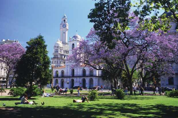 Heart of the city: The sun shines on the lawns of the Plaza de Mayo, located in the historic centre of Buenos Aires. (Photo by Alamy)