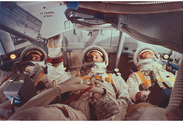 The Apollo 1 crew run through exercises in a practice module – the tragic fire would take place during a similar training session (Photo by MPI/Getty Images)