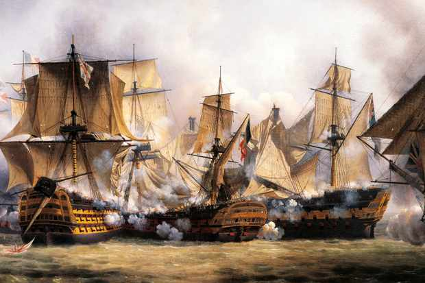 "Winner takes all: A painting shows the French ship 'Redoutable' clashing with the British 'Temeraire'. ""Regardless of the victory off Cape Trafalgar, it was another decade before Britain and her allies defeated Napoleon. (Photo by DeAgostini/Getty Images)"