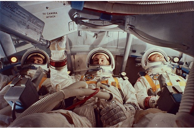Astronauts Virgil 'Gus' Grissom, Ed White and Roger Chaffee inside a practice module for the Apollo 1 mission