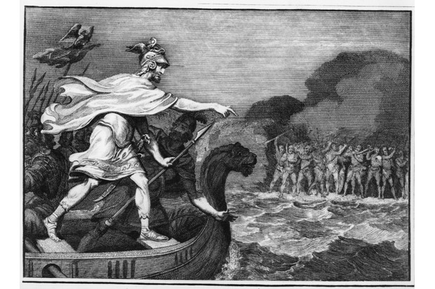 An illustration of Julius Caesar landing his craft during his invasion on Britain. (Photo by Hulton Archive/Getty Images)