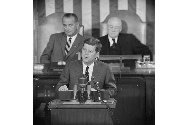 President John F Kennedy giving a speech about America's space programme