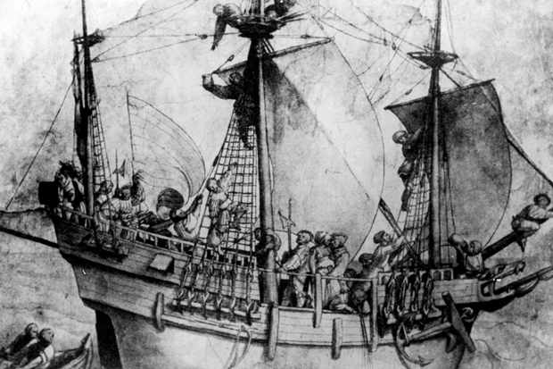 Drawing depicting crew of German traders at work aboard a Hanseatic League, aka German Hanse, aka Hansa 16th-century cargo vessel.  (Photo by Mansell/Mansell/The LIFE Picture Collection via Getty Images/Getty Images)