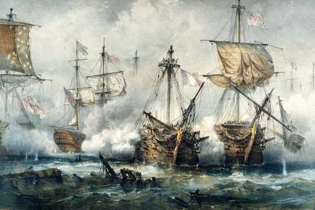 An episode of the naval battle at Trafalgar: the ship Redoutable (French) against the vessels Victory (British), Téméraire (British) and Thunderer (British). (Photo by Fototeca Gilardi/Getty Images).