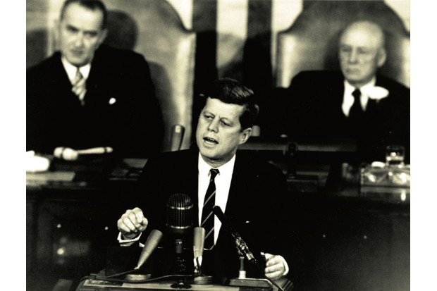 Little more than a month after Yuri Gagarin's spaceflight, John F Kennedy announces the US's intention to reach for the Moon (Photo by NASA)