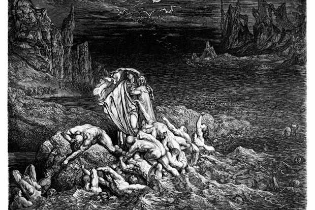 "The Stygian Lake in the Fifth Circle of Hell from from Dante's epic poem 'The Inferno'. The phrase ""Paint the town red"" may originate from the sentence in the poem ""we are they who painted the world scarlet with sins"". (Photo by Getty Images)"
