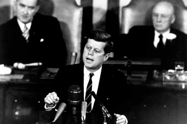 US President John F Kennedy gives his first State of the Union address to Congress at the House of Representatives, Washington DC, 30 January 1961. Kennedy is one of eight presidents to have died during their term in office. (Photo by NASA/SSPL/Getty Images)