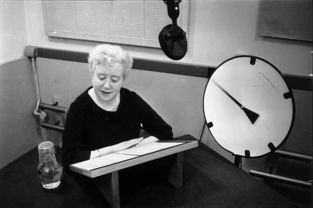 Patricia Simmons recording the speaking clock.