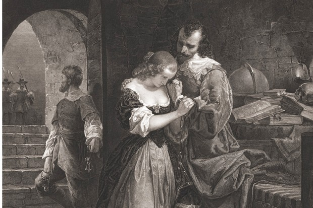 Sir Walter Raleigh bids goodbye to his wife, Elizabeth Throckmorton