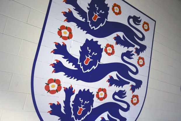The Three Lions crest. A trio of lions has appeared on the arms of every English (and British) monarch since the late 12th century, and has been flown as a battle standard on English soil and abroad. (Photo by Marc Atkins/Offside/Getty Images)