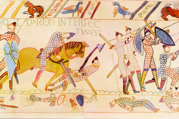 A detail from the Bayeux Tapestry depicting the death of Harold Godwinson at the battle of Hastings, 1066. Victory at Hastings did not make Duke William of Normandy king of England – at least, not immediately. (Photo by Culture Club/Getty Images)
