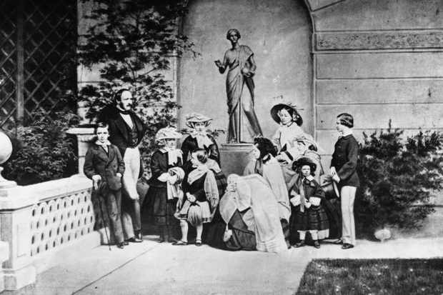 Queen Victoria, her husband Prince Albert, and their nine children.