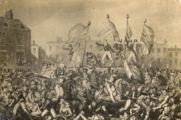 The Peterloo Massacre of 16 August 1819 was the bloodiest political event of the 19th century on English soil. Troops under the authority of the Lancashire and Cheshire magistrates attacked and dispersed a rally of some 50,000 reformers on St Peter's Field, Manchester. (Photo by Rischgitz/Getty Images)
