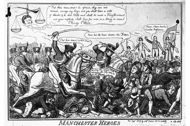 September 1819: A cartoon showing the 'Manchester Heroes', citizens of Manchester who having met at St Peter's Fields to demand the reform of parliament are being brutally cut down by the yeomanry regardless of age or sex. (Photo by Hulton Archive/Getty Images)