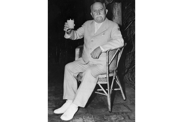 Dr John Harvey Kellogg sitting on a chair