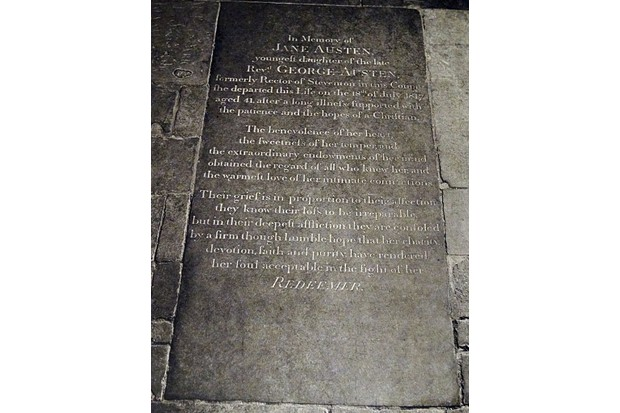 Tombstone of Jane Austen at Winchester Cathedral