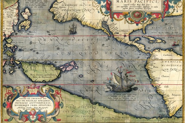 A 16th-century map showing Magellan's ship
