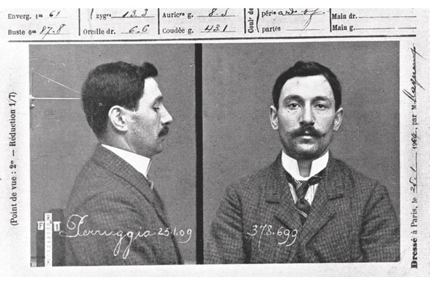 The police record of Vincenzo Peruggia, the man who stole the Mona Lisa