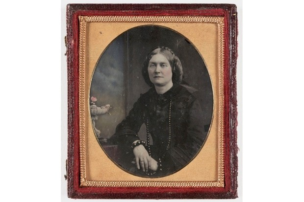 A photograph believed to be of a Mrs Adams (1819-93) taken by an unknown photographer in c1860. The technology of the day (long exposure times in particular) required subjects to remain perfectly still – and a smile is difficult to maintain. (Photo by SSPL/Getty Images)