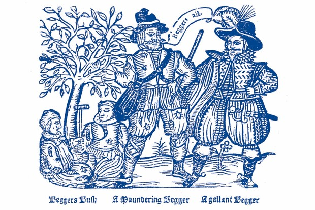 Dire straits: Beggars are depicted in a woodcut. In the 16th century, waves of crop failures persuaded the government to place poor relief on the statute book. (Image by Bridgeman)