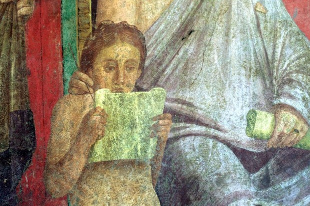 A young girl in an ancient Roman fresco