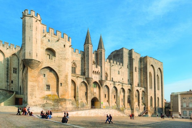 The Popes Palace, or Palais des Papes, in Avignon, France.