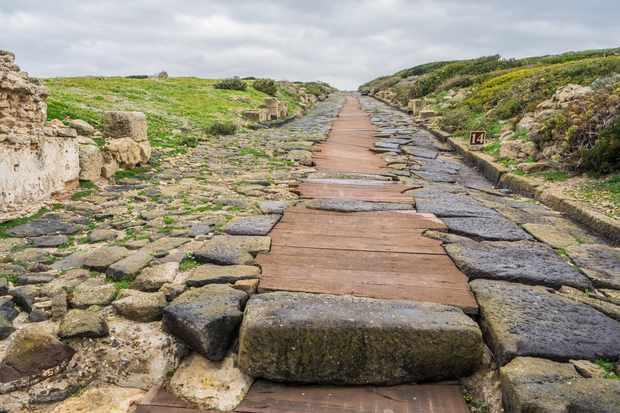 An old Roman road in Sardinia, Italy.