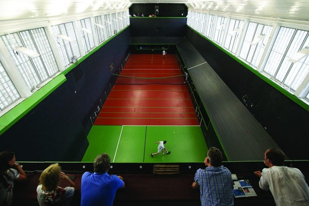 A game of real tennis, also called royal tennis