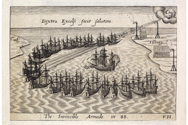 The Spanish Armada, depicted in a 16th-century engraving. England's stand against Spain has become a cornerstone of its self-image. (Image by Bridgeman)