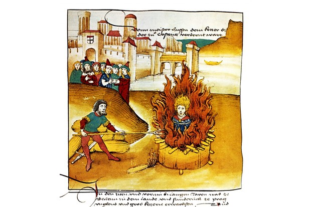 The Prague preacher Jan Hus is burned at the stake.