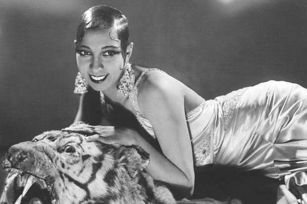 Josephine Baker lounges on a tiger skin around the time she starred in La Revue Nègre