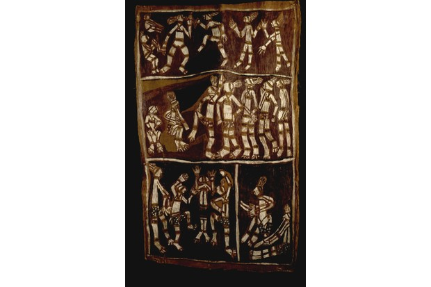 Indigenous Australians dance to music in this 20th-century bark painting. The treatment of these peoples by European settlers remains a sensitive political issue in Australia today. (Image by Bridgeman)