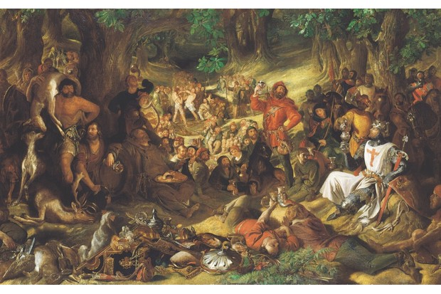 Robin Hood and his Merry Men entertaining a grateful Richard I in Sherwood Forest