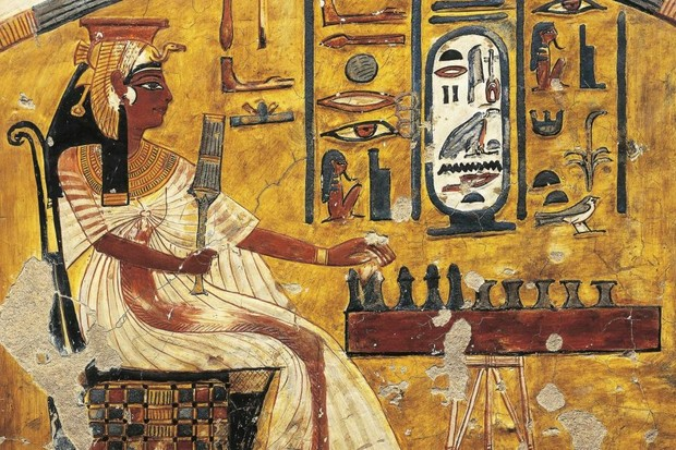 Picture depicting an Ancient Egyptian playing Senet