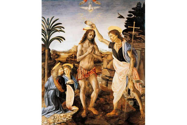 The Baptism of Christ painted by Verrocchio and assistants