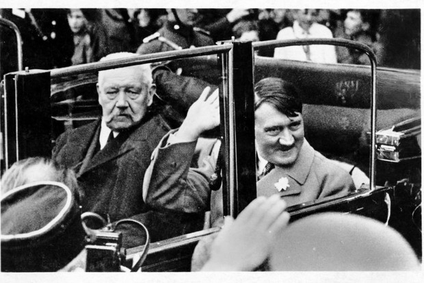 Chancellor Adolf Hitler with President Paul von Hindenburg, Berlin, 1 May 1933
