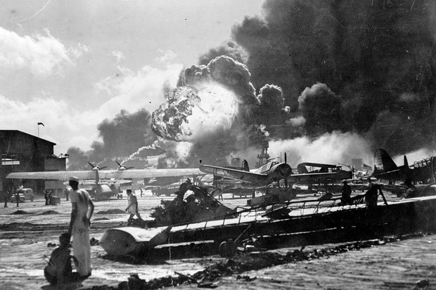 The neutral USA entered World War II only when a Japanese fleet launched a big surprise air raid against its Pacific naval base at Pearl Harbor in Hawaii on 7 December 1941. (Photo by Fox Photos/Getty Images)