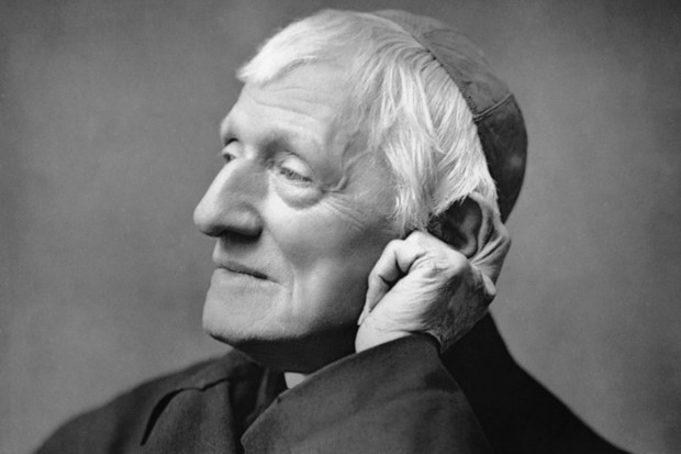 Black and white portrait image of Cardinal John Henry Newman.