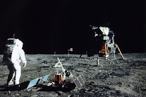 On 20 July 1969, Lunar Module 'Eagle' touched down gently on the Sea of Tranquility on the moon. (Photo by NASA/Newsmakers via Getty Images)